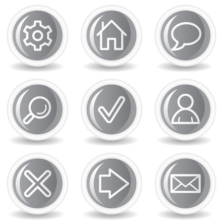 Basic web icons, circle grey glossy buttons Stock Vector - 7936002