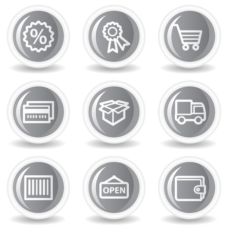 billfold: Shopping web icons set 2, circle grey glossy buttons Illustration
