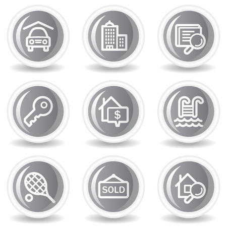 Real estate web icons, circle grey glossy buttons Stock Vector - 7936081