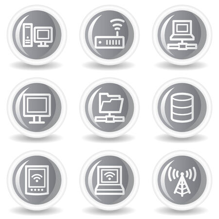 Network web icons, circle grey glossy buttons Stock Vector - 7936021