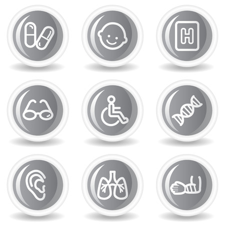 Medicine web icons set 2, circle grey glossy buttons Stock Vector - 7936023