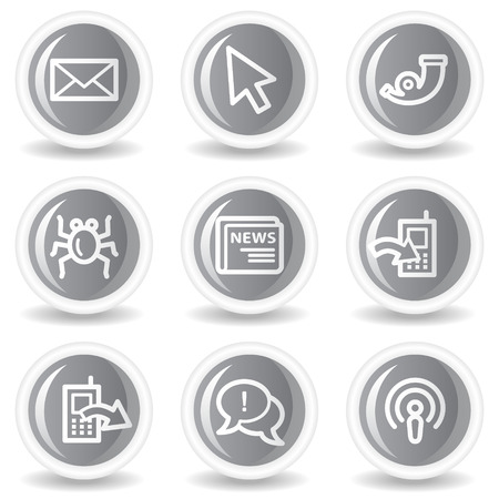 Internet web icons set 2, circle grey glossy buttons Stock Vector - 7936028