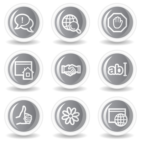 icq: Internet web icons set 1, circle grey glossy buttons Illustration