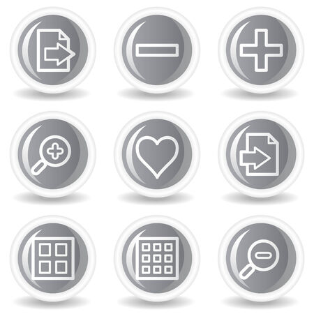 and viewer: Image viewer web icons set 1, circle grey glossy buttons Illustration