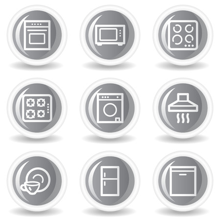 gas laundry: Home appliances web icons, circle grey glossy buttons