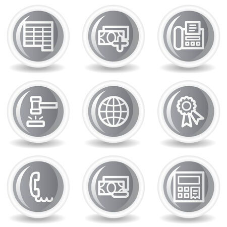 Finance web icons set 2, circle grey glossy buttons Stock Vector - 7936055
