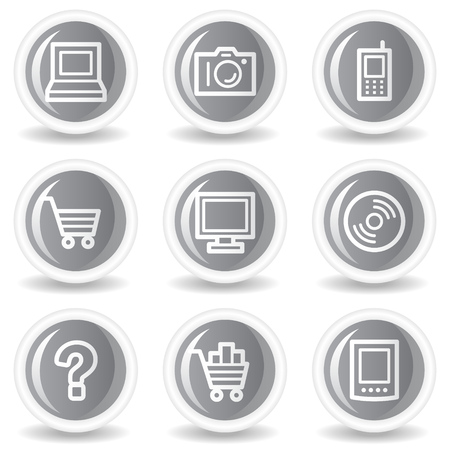 Electronics web icons set 1, circle grey glossy buttons Stock Vector - 7936019