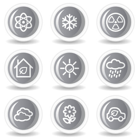 Ecology web icons set 2, circle grey glossy buttons Stock Vector - 7936057