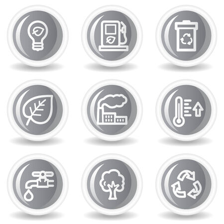Ecology web icons set 1, circle grey glossy buttons Vector