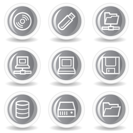 fdd: Drives and storage web icons, circle grey glossy buttons