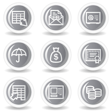 Banking  web icons, circle grey glossy buttons Stock Vector - 7934670