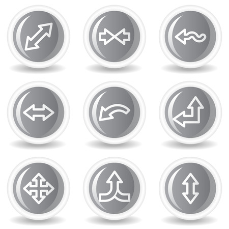 Arrows web icons set 2, circle grey glossy buttons Vector