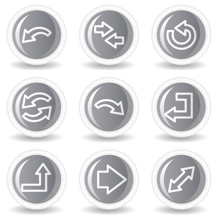 Arrows web icons set 1, circle grey glossy buttons Vector
