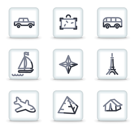 Travel  icons set 2, white square glossy buttons Vector