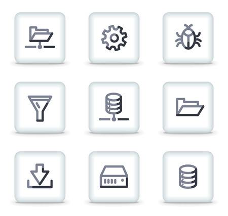 Server icons, white square glossy buttons Vector