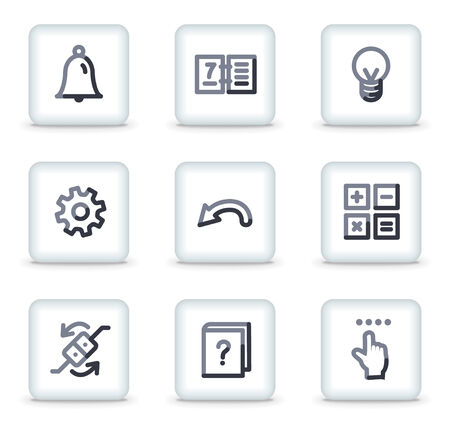 Organizer icons, white square glossy buttons Stock Vector - 8088191