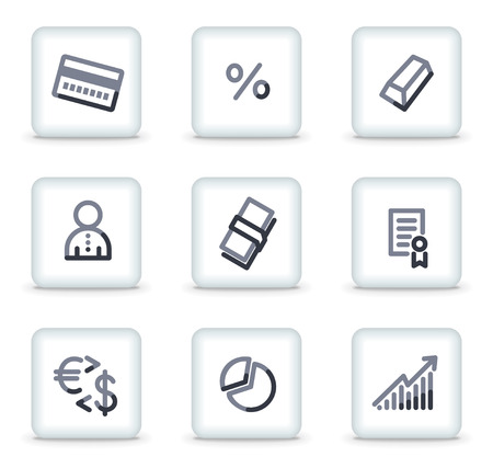 Money icons set 2, white square glossy buttons Stock Vector - 8088181
