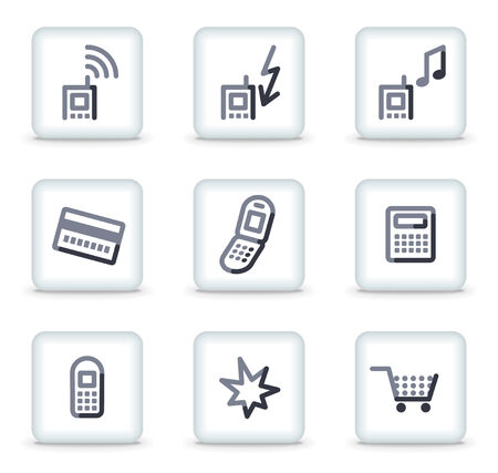 prepaid: Mobile phone icons set 1, white square glossy buttons