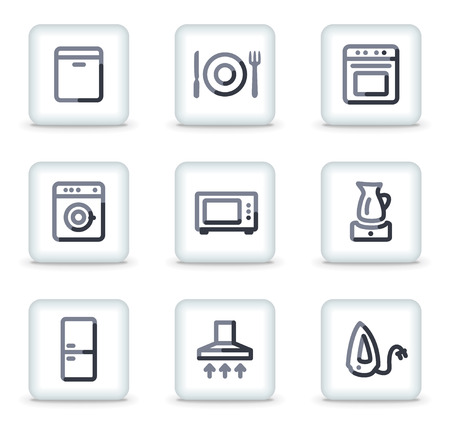Home appliances icons, white square glossy buttons Stock Vector - 8088190