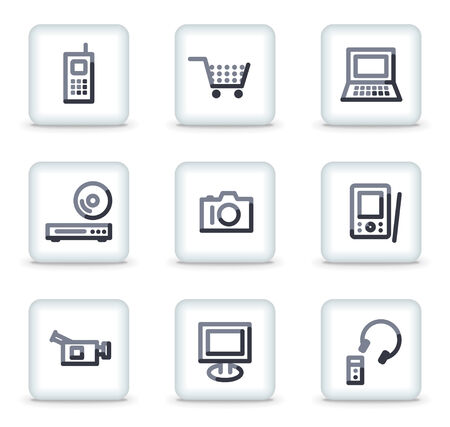 electronics icons: Electronics icons, white square glossy buttons Illustration