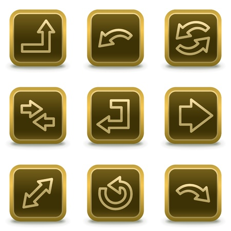Arrows web icons set 1, square brown buttons Vector