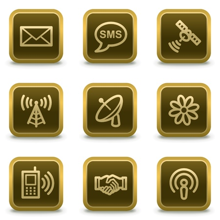 access point: Communication web icons, square brown buttons