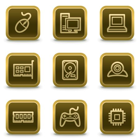 Computer web icons, square brown buttons Stock Vector - 8411564