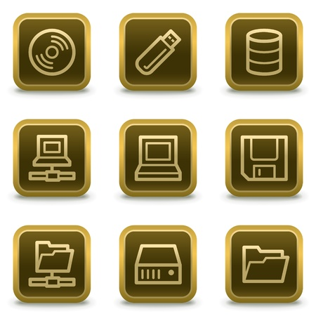 Drives and storage web icons, square brown buttons