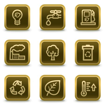 Ecology web icons set 1, square brown buttons Stock Vector - 8411571