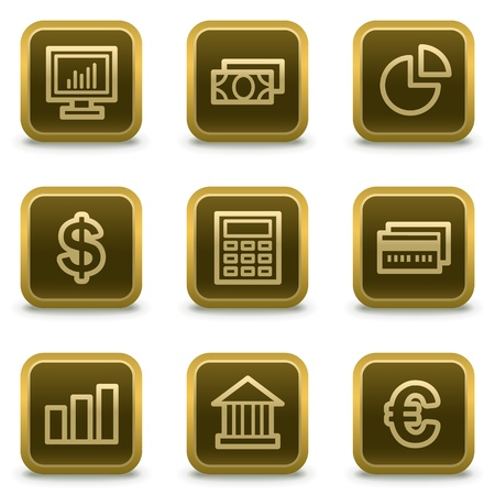 Finance web icons set 1, square brown buttons Stock Vector - 8411546