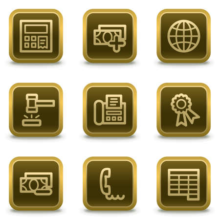 Finance web icons set 2, square brown buttons Stock Vector - 8411562