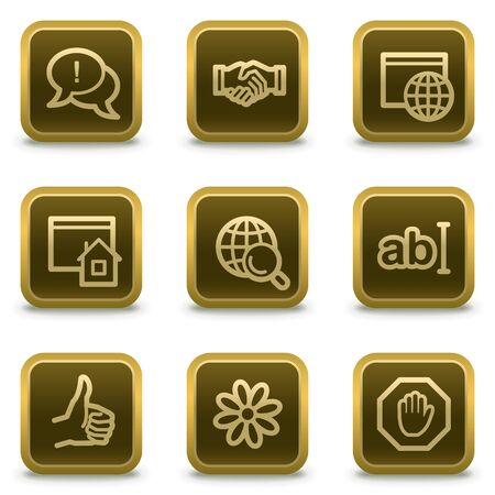 icq: Internet web icons set 1, square brown buttons