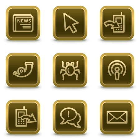 Internet web icons set 2, square brown buttons Stock Vector - 8411542