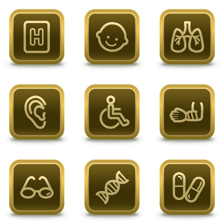 traumatic: Medicine web icons set 2, square brown buttons