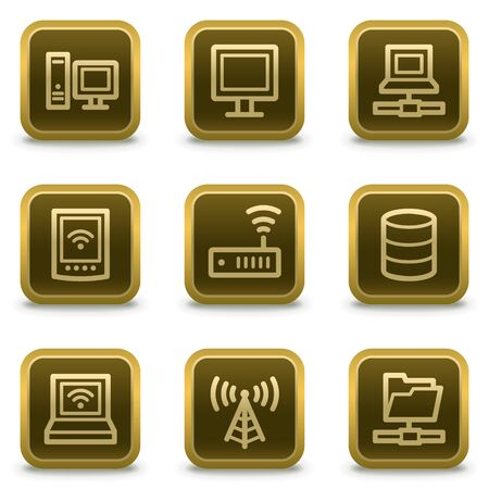 access point: Network web icons, square brown buttons Illustration