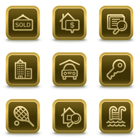 Real estate web icons, square brown buttons Stock Vector - 8411574