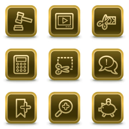 Shopping web icons set 3, square brown buttons