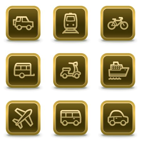 air liner: Transport web icons, square brown buttons Illustration