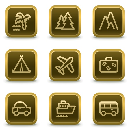 Travel web icons set 1, square brown buttons Vector
