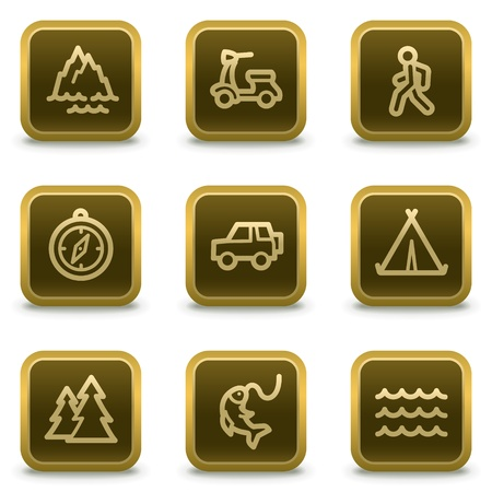 Travel web icons set 3, square brown buttons Vector