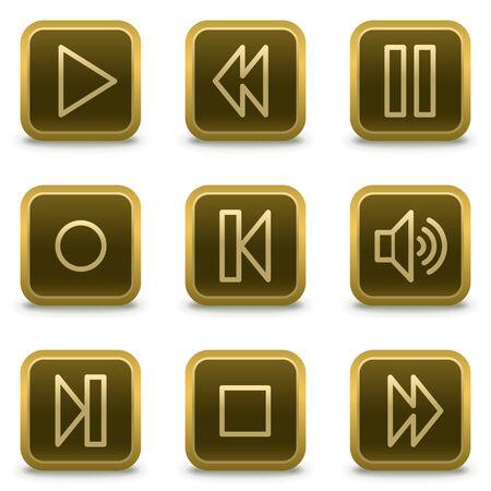 pausa: botones de iconos, Plaza marr�n de m�sica jugador web
