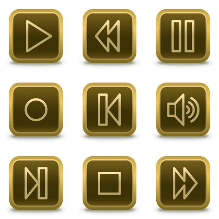 stop button: music player web icons, square brown buttons