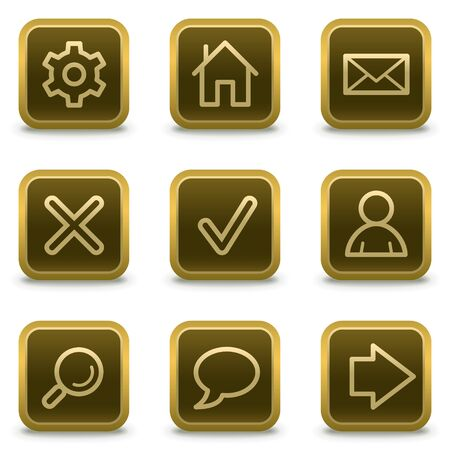 Basic web icons, square brown buttons Stock Vector - 8411513