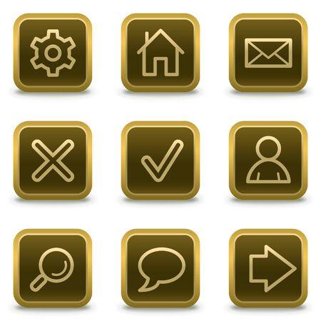 navigation pictogram: Basic web icons, square brown buttons Illustration