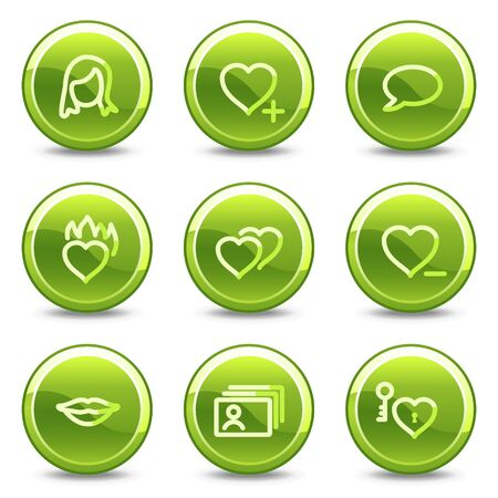 Dating icons, green circle glossy buttons Vector