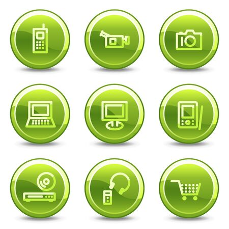 Electronics icons, green circle glossy buttons