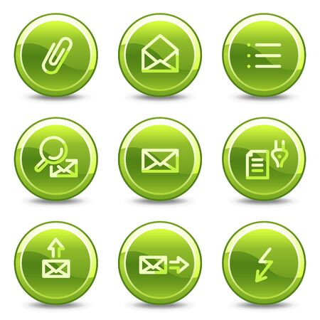 E-mail icons set 2, green circle glossy buttons Vector