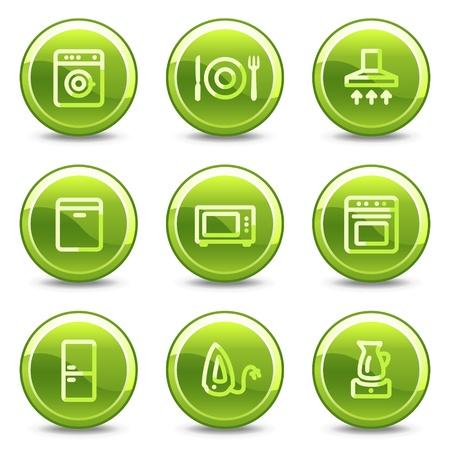 home appliances: Botones de brillante de c�rculo de iconos, verde de electrodom�sticos