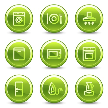 Home appliances icons, green circle glossy buttons Stock Vector - 8411441