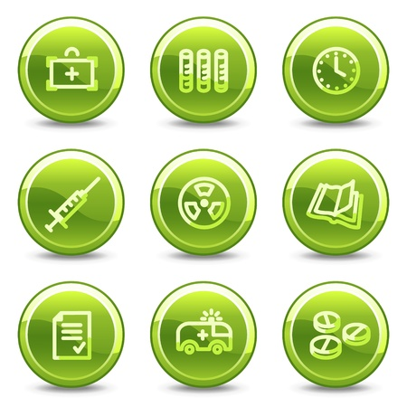 Medicine icons set 1, green circle glossy buttons Vector